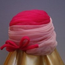 Image of Two tone turbin hat  back view   Jane Mueller