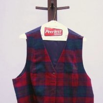 Image of Cranberry & Green Plaid, Wool Vest    Jane Mueller