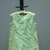 Image of Lime Green Dress with Feather Trim     Jane Mueller