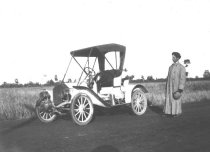 Image of Man in Duster Standing by Early Car, ca. 1905