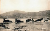 Image of Pulling Cars Across the Bernardo River, 1916