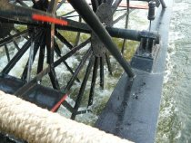 Image of Paddle wheels on stern of Brazos Belle