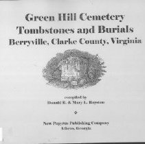 Image of 929.3755  Green - Green Hill Cemetery Tombstone & Burials-Clarke County, VA