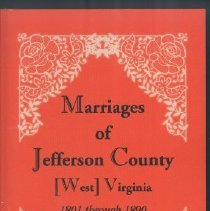 Image of Marriages of Jefferson County, VA/WV: 1801-1890