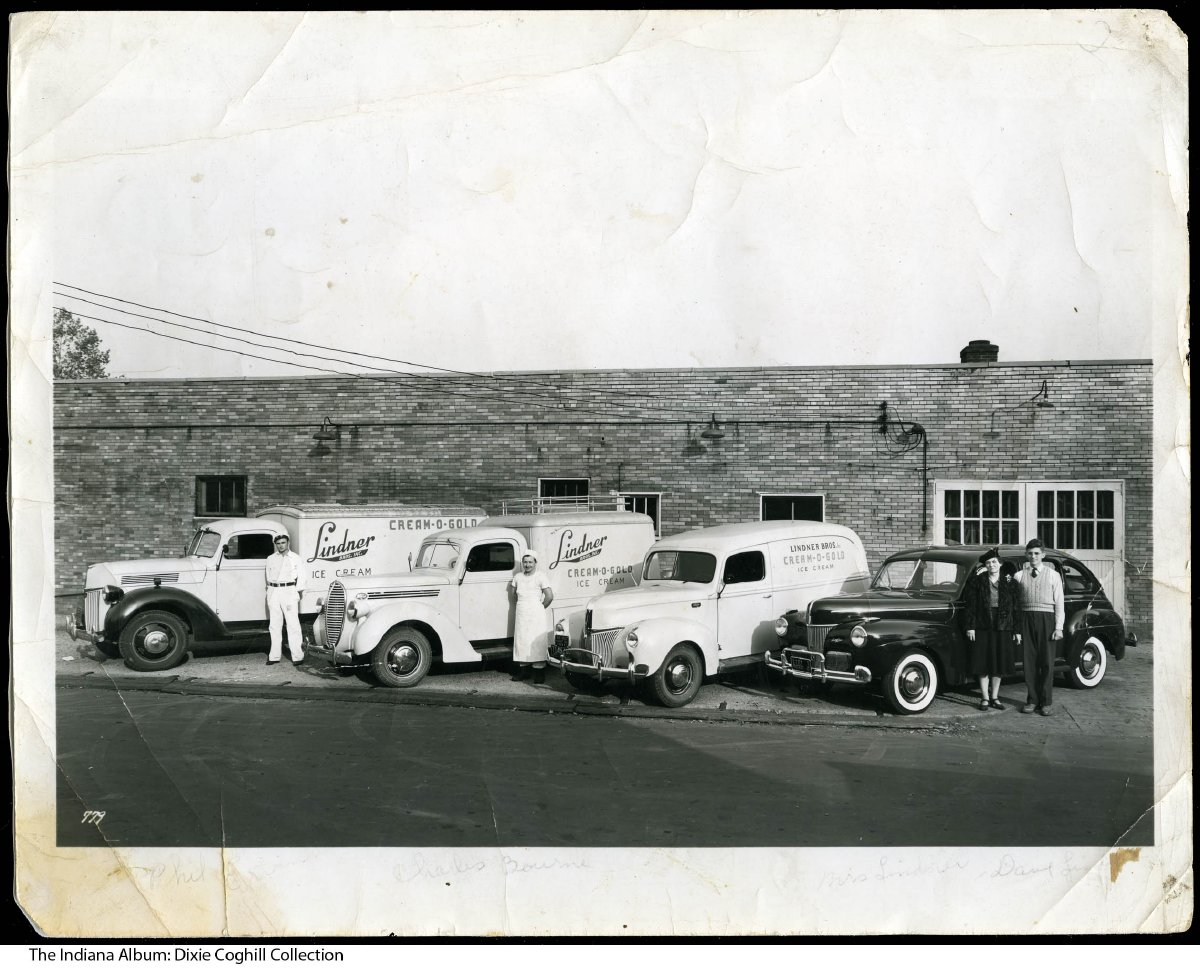 Photo of Lindner Ice Cream factory and trucks, Indianapolis