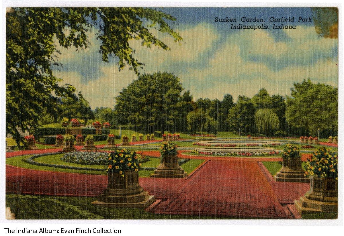 Postcard of Sunken Gardens, Garfield Park, Indianapolis, Indiana, ca ...