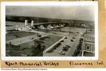 Image of Snapshot of the Lincoln Memorial Bridge, Vincennes, Indiana, ca. 1938 - This 1930s snapshot looks southwest at the Lincoln Memorial Bridge in Vincennes and the Wabash River.