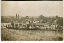 "Image of Photo of the steamboat Alma near Switzerland County, Indiana, ca.1910 - Photo of passengers on the steamboat ""Alma"". The steam packet was part of an accident that and caught on fire at a bend in the Ohio River near Florence, Indiana."