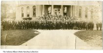 Image of Photo of Retired Railroad Workers at the Porter County Courthouse, Valparaiso, Indiana, 1916 - Image of a group of retired railroad workers in front of the Porter County Courthouse on October 7, 1916.