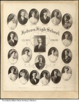 Image of Photo of Hebron High School Class of 1908, Hebron, Indiana - Composite photograph of the seniors from the class of 1908 at Hebron High School. Identified as: