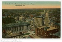 Image of Postcard of bird's-eye view of downtown Indianapolis, Indiana, ca. 1910 - Bird's-eye view looking northeast from Monument Place. The Federal Building on E. Ohio Street is seen, as is the Studebaker building, and a piano shop next to the Knights of Pythias building on Massachusetts Avenue and Pennsylvania Street.
