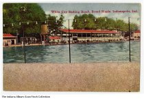 Image of Postcard of White City Bathing Beach, Indianapolis, Indiana, ca. 1910 - Postcard showing a group of swimmers and bathers at the White City Bathing Beach in Broad Ripple in Indianapolis.