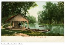 Image of Postcard of boating in Hammond's Grove, Indianapolis, Indiana, ca. 1905 - View of a shelter and people canoeing. Postmarked 1909. Hammond's Grove, owned by Thomas Hammond, was located around what is currently 40th to 42nd Streets and N. Keystone Avenue, along Fall Creek. It was in Section 17 of Washington Township at about 4240 N. Keystone Avenue.