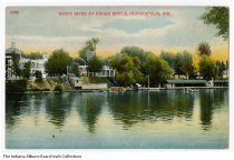 Image of Postcard of White River in Broad Ripple Park, Indianapolis, Indiana, ca. 1910 - Postcard showing access to the White River at Broad Ripple Park in Indianapolis. The roof of a pavillion and the roller coaster are in the background.