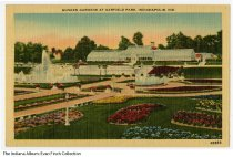 Image of Postcard of Sunken Gardens, Garfield Park, Indianapolis, Indiana, ca. 1930 - In the background in the Garfield Park Conservatory.