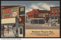 Image of Postcard of the Universal Finance Corp., Indianapolis, Indiana, ca. 1940 - Postcard showing two views of the Universal Finance Corp, located at 1180 1/2 Shelby Street. The Pioneer Family fountain is visible one of the images; it was designed by Myra Richards in 1925 and moved to Garfield Park in 1954.