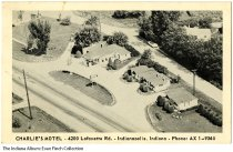 Image of Postcard of Charlie's Motel, Indianapolis, Indiana, ca.1935 - Postcard showing an aerial view of Charlie's Motel.