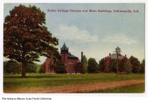 Image of Postcard of Butler College Campus, Indianapolis, Indiana, ca. 1910 - Postcard showing two brick buildings on the Butler University campus when it was in Irvington.