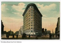 Image of Postcard of the Knights of Pythias building, Indianapolis, Indiana, ca. 1913 - View of the flatiron-shaped Indiana Pythian building on the corner of N. Pennsylvania Street and Massachusetts Avenue. Postmarked 1913.