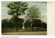 Image of Postcard of St. Clair Park, Indianapolis, Indiana, ca. 1905 - A statue of an athlete is depicted.