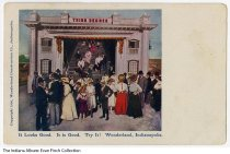 "Image of Postcard of ""Third Degree"" amusement at Wonderland Park, Indianapolis, Indiana, ca. 1906 - A group of people stands in front of a stairway leading to an attraction called the ""Third Degree."" It reads ""It Looks Good. It is Good. Try It! Wonderland, Indianapolis."" The postcard has a copyright date of 1906 on the front."