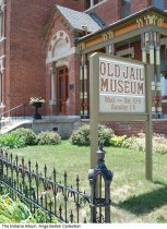 Image of Photo of the Rotary Jail Museum and sign, Crawfordsville, Indiana, ca. 2010