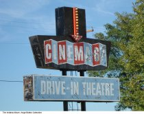 Image of Photo of the Cinema 67 Drive-in Theater sign, Spencer, Indiana, ca. 2010