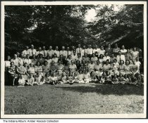 Image of Possibly a church gathering,  Indianapolis, Indiana, ca. 1940s - This probably includes the family of Lawrence and Virginia (Henderson) Kimberlin. Their daughter Rita (Kimberlin) Cook (1920-2016) attended the Post Road Christian Church and its predecessors for 80 years.