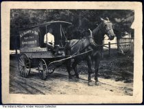 "Image of R. L. Elliott & Son Groceries delivery wagon, Orleans, Indiana, 1913 - A horse-drawn delivery wagon for R. L. [Robert Ludwell] Elliott & Son Staple & Fancy Groceries. Lawrence Henderson is at the reins. Written on the back is ""Larry 1913."""