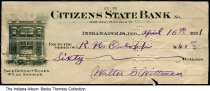 Image of Bank check for Citizens State Bank, Indianapolis, Indiana 1921 - The $60 check, paid to the order of R. N. Orloff from Walter G. Wittman, has a drawing of the exterior of the Citizens State Bank.