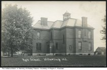 "Image of Williamsburg School, Williamsburg, Indiana, ca. 1907 - On the back of this postcard is written, ""Williamsburg School Grades 1-12 - about 1906 . I entered school here in 1919.  The building was razed in 1923 and a new structure opened in 1923. Wesley Pearce""."