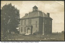 """Image of Williamsburg School, Williamsburg, Indiana, ca. 1900 - On the back of this postcard is written, """"First Williamsburg School before 1900."""" Printed into the image is """"Pub [published] for OL Pearce by J. W. Harper."""""""