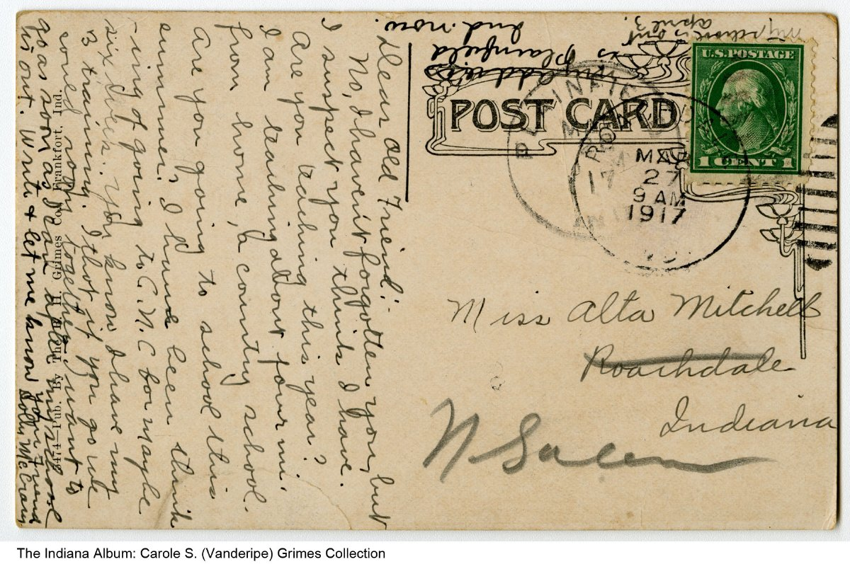 Postcard Of Public Library Mooresville Indiana Ca 1915 Postmarked 1917 The Mooresville