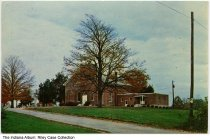 "Image of Methodist Church near Greencastle, Indiana, 1948 - Postmarked 1948. The caption on back reads ""Brick Chapel Methodist Church, A beautiful landmark 5 miles north of Greencastle, Ind. on State Road No. 231."""