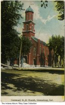 Image of Centenary Methodist Episcopal Church, Greensburg, Indiana, ca. 1910 - Message is dated November 9, 1910.