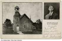 Image of Spencerville Methodist Episcopal Church, Spencerville, Indiana, ca. 1911 -  Inset of Pastor C. A. Byrt.