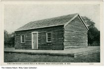 Image of Old Methodist Church, near Charlestown, Indiana, ca. 1910 - This log church was built in 1808, and was the first Methodist church built in Indiana.