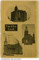 Image of Two churches and high school in Topeka, Indiana, ca. 1910 -  Postmarked 1910.