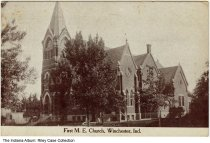 Image of First Methodist Episcopal Church, Winchester, Indiana, ca. 1912 - Postmarked 1912.
