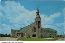 Image of Calvary United Methodist Church, Syracuse, Indiana, ca. 1965 - On the back of the card it states that the church was dedicated in 1961.