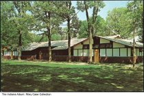"Image of Battle Ground Methodist Camp Retreat Center, Battle Ground, Indiana, ca. 1965 - Text on the back: ""Battleground Methodist Camp / Northwest Indiana Conference / Battleground, Indiana / Retreat Center contains complete facilities for housing, feeding, and programming for 40 people. It is used by many religious and character building agencies for retreats and summer conferences. This is first of modernization program started in 1960."" The camp, located on the grounds of the Tippecanoe Battlefield, closed in 1971."