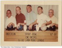 Image of Guide Lamp Mens Bowling League team, Anderson, Indiana, 1967-1968 - Members, all engineers, of the Guide Lamp Mens League at the Sport-Bowl are left to right: Elmer Anson, Harry Kirchenbauer, Oren Nichols, Ed Barcus, and John Diedring. Guide Lamp is a division of General Motors Corporation.