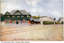 Image of Big Four Depot and Cut, Wabash, Indiana, ca. 1910