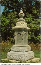 """Image of Frances Slocum Memorial, Slocum Cemetery, Wabash, Indiana, ca. 1950 - Stone monument with the name She-Po-Con-Ah, the husband of Frances Slocum. Text on the verso: """"Frances Slocum Memorial / Peru, Indiana / As a small child was captured by Indians. Later in her life she married an Indian Chief and spent her entire life with the tribe."""""""