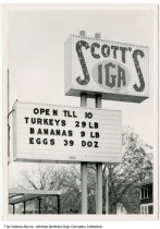 Image of Scott's IGA Grocery Store sign, Fort Wayne, Indiana, ca. 1960 - There were several Scott's IGA stores in the Fort Wayne area, including East State Street and Fairfield and Taylor streets.
