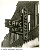 Image of Lavengood's Cafe sign, Indiana, 1947 - Dated April 11, 1947.