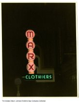 Image of Marx Clothiers neon sign at night, Indiana, ca. 1950