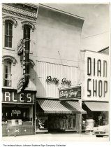 Image of Betty Gay Clothing store, Huntington, Indiana, ca. 1950 - Also seen in this image are the Charles Restaurant and the Diana Shop.