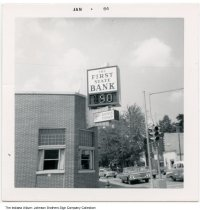 Image of First State Bank, Indiana, ca. 1963 - Stamped Jan 64, but there are leaves on the trees and the temperature is 90 degrees on the sign, so the image was probably taken in summer or fall of 1963.