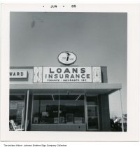 Image of Time and temperature sign at Finance Insurance, Inc., Indiana, 1966 - Stamped Jun 66.